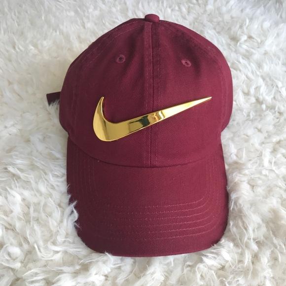 Burgundy Nike Gold Logo Adjustable Hat. M 5ab6669845b30ccd8d26506d 334f9b6b4c8